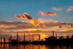 离开绿洲在与云彩和桔黄色天空的日落 图库摄影