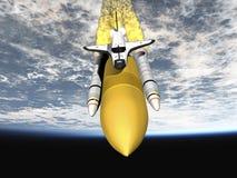离开航天飞机的地球 库存图片