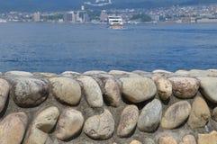 离开Mijayima海岛日本的轮渡 免版税图库摄影