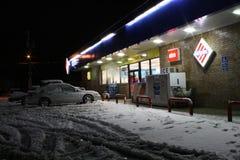 离经叛道之人的得克萨斯冬天雪风暴飞雪 免版税库存照片