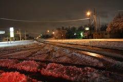 离经叛道之人的得克萨斯冬天雪风暴飞雪 图库摄影