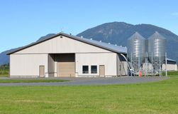 禽畜哺养容器和大厦 库存图片