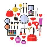 秀丽、化妆用品和构成导航平的象 库存图片