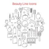 秀丽、化妆用品和构成导航线象 库存图片