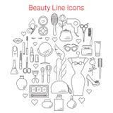 秀丽、化妆用品和构成导航线象 库存照片