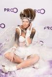 秀丽与构成的时装模特儿 免版税库存图片