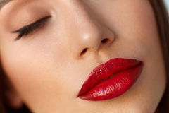 秀丽与美好的构成和性感的红色嘴唇的妇女面孔 免版税图库摄影