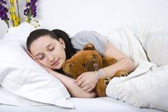 秀丽休眠的妇女 库存图片