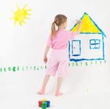 秀丽儿童绘画 免版税库存图片