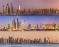 秀丽全景的拼贴画迪拜小游艇船坞的 图库摄影