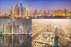 秀丽全景的拼贴画迪拜小游艇船坞的 免版税库存图片
