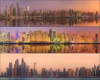 秀丽全景的拼贴画迪拜小游艇船坞的 库存照片