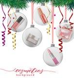 秀丽和化妆用品背景与圣诞树分支,气球,五彩纸屑,化妆用品 向量 免版税库存照片