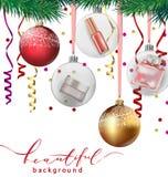 秀丽和化妆用品背景与圣诞树分支,气球,五彩纸屑,化妆用品 向量 库存例证