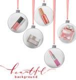 秀丽和化妆用品背景与圣诞树分支,气球,五彩纸屑,化妆用品 向量 免版税图库摄影