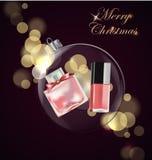 秀丽和化妆用品背景与圣诞树分支,气球,五彩纸屑,化妆用品 模板传染媒介 库存图片