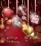 秀丽和化妆用品背景与圣诞树分支,气球,五彩纸屑,化妆用品 模板传染媒介 免版税库存照片
