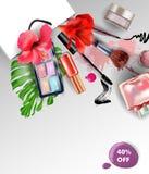 秀丽和化妆用品背景 夏天销售概念 广告飞行物的,横幅,传单用途 向量 皇族释放例证