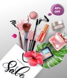 秀丽和化妆用品背景 夏天销售概念 广告飞行物的,横幅,传单用途 向量 向量例证
