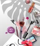 秀丽和化妆用品背景 夏天销售概念 广告飞行物的,横幅,传单用途 向量 免版税库存照片