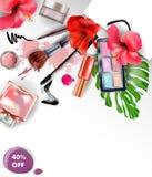 秀丽和化妆用品背景 概念玻璃现有量扩大化的销售额 模板传染媒介 免版税库存图片