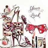 秀丽和时尚导航与化妆用品m的水彩背景 免版税库存图片