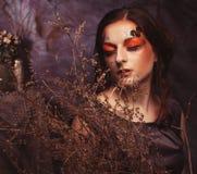 秀丽和艺术概念:有明亮的少妇用干燥分支组成 库存图片