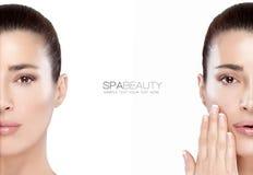 秀丽和skincare概念 两张半面孔画象 免版税图库摄影
