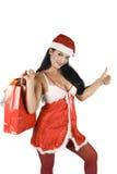 秀丽圣诞老人赞许 库存照片