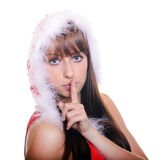 秀丽圣诞节女孩组成 库存照片