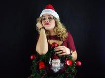 秀丽圣诞节女孩组成 库存图片