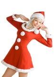 秀丽圣诞节女孩 免版税库存照片