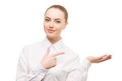 秀丽女商人画象 提出产品 美好的g 库存图片