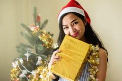 秀丽女孩举行Xmas礼物 免版税库存图片
