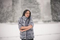 秀丽女孩冬天画象有雪的 免版税库存图片