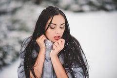 秀丽女孩冬天画象有雪的 免版税图库摄影