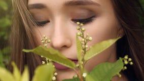 秀丽女孩嗅到的花 特写镜头 概念自然有机健康,化妆用品产品 股票视频