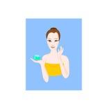 秀丽女孩在从瓶子的面孔上把绿色奶油放在蓝色背景 向量例证