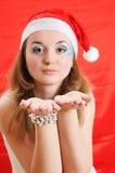 秀丽女孩帽子圣诞老人 库存照片