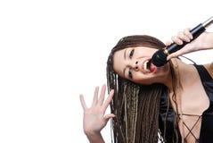 秀丽女孩歌唱家年轻人 库存照片