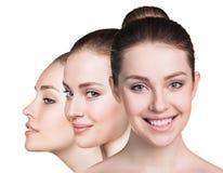 秀丽女孩的三张完善的面孔 库存图片
