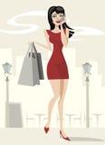 秀丽女孩购物 图库摄影