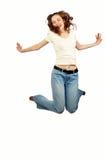 秀丽女孩跳的年轻人 免版税图库摄影