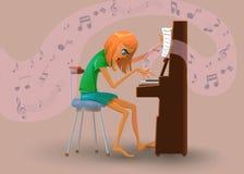 秀丽女孩,弹钢琴 免版税库存照片