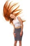 秀丽女孩画象 健康长的红色头发 美丽的年轻Wom 免版税图库摄影