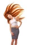 秀丽女孩画象 健康长的红色头发 美丽的年轻Wom 免版税库存图片