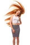 秀丽女孩画象 健康长的红色头发 美丽的年轻Wom 库存图片