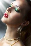秀丽女性模型纵向性感的年轻人 免版税图库摄影