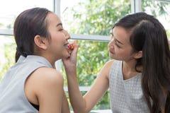 秀丽妇女作为唇膏,帮助与构成的女朋友 g 图库摄影