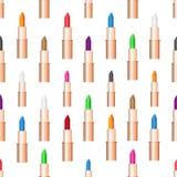 秀丽妇女关心唇膏颜色无缝的样式eps10 图库摄影